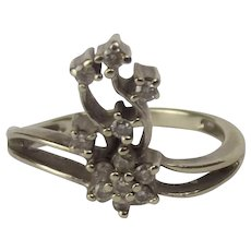 9ct White Gold Diamond Flower Cluster Ring UK Size N US 6 ½