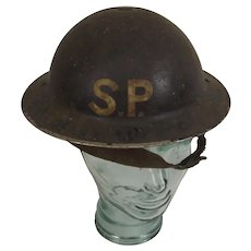 WW2 British London Stretcher Party Helmet With Liner And Chin Strap