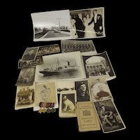 WW2 And Earlier Collection Of Photographs, Set Of Four Miniature Medals Etc.