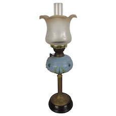 Victorian Oil Lamp With Blue Glass Reservoir