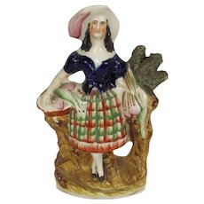 19th Century Staffordshire Highland Lass With Game Birds