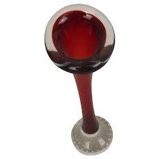 1960's Red Whitefriars Specimen Glass Vase