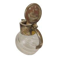 Art Nouveau Spriral Cut Glass & Silver Plated Bulbous Jug