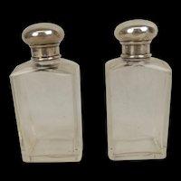 Pair Of London Silver Topped Perfume Bottles London 1932