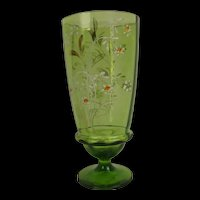 1940's Czech Glass Vase Decorated With Floral Sprays