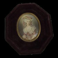 Circa 1770 Miniature Painting Of A Gentry Lady Signed ARS