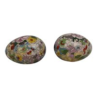 Pair Of Circa 1870 Chinese Cloisonne Eggs