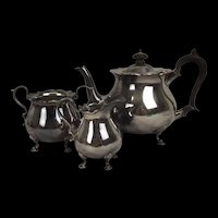 Late Victorian Martin & Hall 3 Piece Silver Plated Tea Set