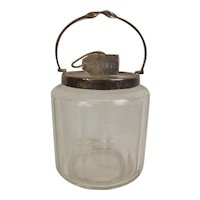Circa 1920 Cut Glass Biscuit Barrel With Naval Relief Knot Silver Plated Lid