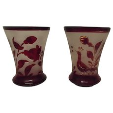 Pair Of Victorian Cranberry Glass Vases