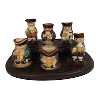 Royal Doulton Set Of Six Miniature Toby Jugs On Stand Limited Edition