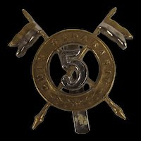 5th Royal Irish Lancers Officers Cap Badge