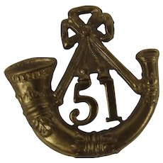51st Kings Own Light Infantry Glengarry Cap Badge