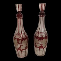 Pair Of Victorian Cranberry Cut Glass Decanters