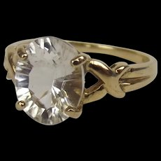 9ct Yellow Gold White Topaz Ring UK Size N+ US 6 ¾