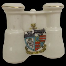 Arcadian Crested China WW1 Binoculars With Wellington Salop Crest