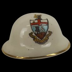Purcelle Crested China WW1 Brodie Helmet With Londonderry Crest