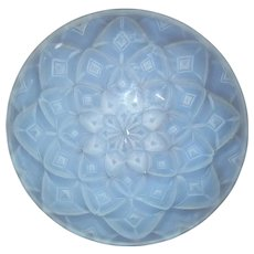 Circa 1930 French Pressed Opalescent Glass Geometric Dahlia Bowl By Andre Hunebelle