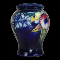 1930's William Moorcroft Orchid Pattern Squat Balluster Form Vase
