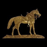 Circa 1850 Gilt Half Horse With Saddle Cloth