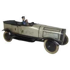 Circa 1915 Burnett Tinplate Toy Touring Car, Chauffeur & Passenger