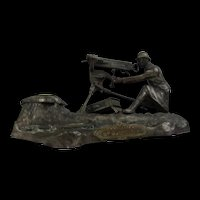 WW1 French Spelter Inkwell Of A Machinegunner