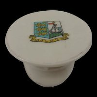 Arcadian Crested China WW1 Britsh Officers Cap With Maldon Crest