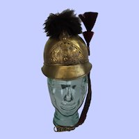 19th Century French Brass Fire Service Helmet Sapeurs Pompiers Follainville