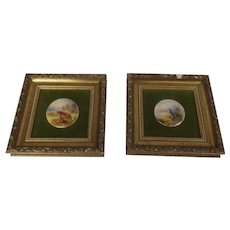 Pair Of Royal Worcester Plaques Of A Fox And A Partridge By James And Harry Stinton