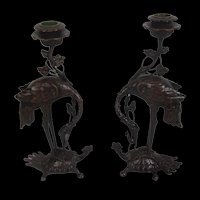 Japanese School (Meiji Period) Pair Of Brown Patinated Bronze Candlesticks Of A Crane And Tortoise