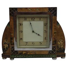 1920s Chinoiserie Lacquered Mantle Clock