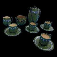 Late Victorian Moorcroft For MacIntyre Florian Ware Coffee Set