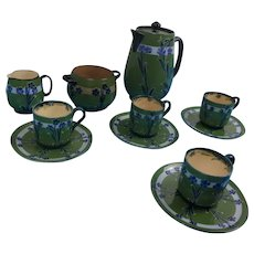 Late Victorian Moorcroft For MacIntyre Florian Ware Coffee Set