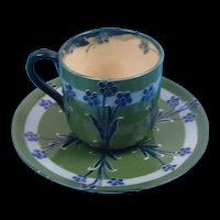 Late Victorian Moorcroft For MacIntyre Florian Ware Tea Cup And Saucer