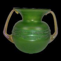 Austrian Art Nouveau Loetz Green Glass Vase