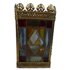 Late Victorian Brass Framed Stained Glass Hall Lantern