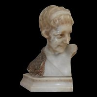 1920's Marble Bust Of A Flapper Girl