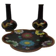 Miniature Japanese Cloisonne Set Of A Dish And Two Vases