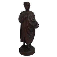 19th Century Grand Tour Mahogany Library Figure Of Dante Alighieri