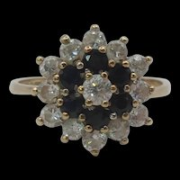 9ct Yellow Gold Sapphire & Cubic Zirconia Flower Head Ring UK Size M+ US 6 ¼