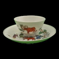 18th Century First Period Worcester Red Bull Pattern Tea Bowl And Saucer