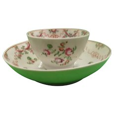Circa 1800 New Hall Tea Bowl And Saucer With A Ribbons And Floral Pattern