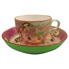 18th Century English Porcelain Teacup And Saucer In Polychrome Enamels