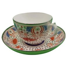 18th Century English Porcelain Teacup And Saucer In Polychrome Enamels With Silvering