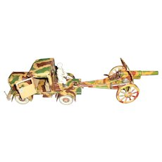 Pre-War Tippco German Tinplate Clockwork Artillery Towing Truck And Field Cannon With Two Crew