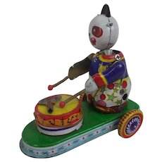 Chinese Tinplate Clockwork Panda On Drums