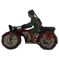 Circa 1935 German Elastolin Krader Motorcyclist Composite Figure