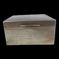 Sterling Silver London 1954 Cigarette Case With Royal Naval Air Station RNAS Lee On Solent Engraving