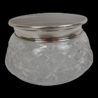 Birmingham 1944 Silver Topped Cut Glass Pot