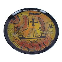 Circa 1972 Poole Pottery Aegean Charger Plate Of A Medieval Ship